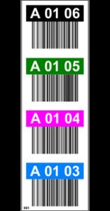 ONE2ID magazijn doorgang label met kleurcodering