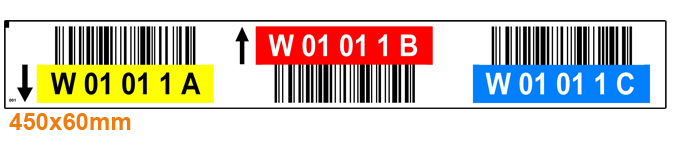 ONE2ID label palletstelling kleur pijlen barcodes
