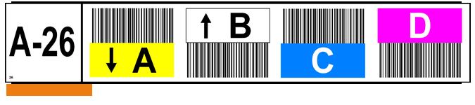ONE2ID magazijnlabel kleur pijlen barcodes
