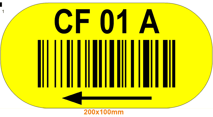 ONE2ID geel vloerlabel barcode tekst pijl