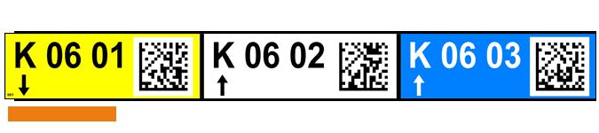 ONE2ID magazijnlabel kleur pijlen QR datamatrix codes