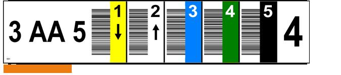 ONE2ID magazijnlabel verticale barcodes pijlen kleur