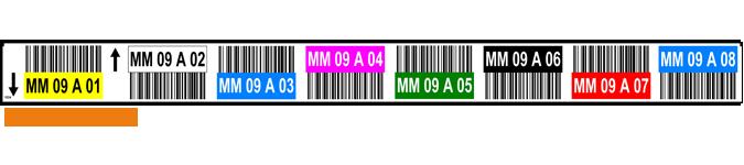 ONE2ID stelling label hoogtekleuren barcodes