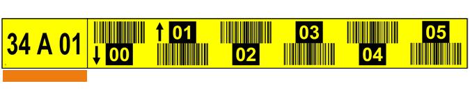 ONE2ID stellinglabel magazijn geel tekst pijlen barcodes