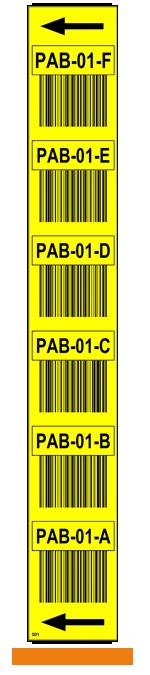 ONE2ID stellinglabel verticaal geel barcode pijlen