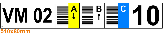 ONE2ID stellinglabel magazijn verticale barcodes kleur