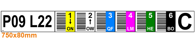 ONE2ID magazijnlabel kleurcodering verticale barcodes