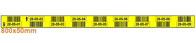 ONE2ID magazijnlabel geel 9 niveaus barcodes