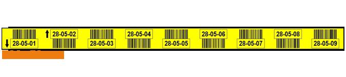 ONE2ID magazijnlabel geel 9 niveaus barcodes