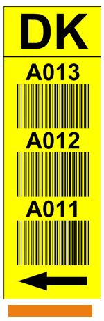 ONE2ID stellinglabel magazijn verticaal geel 3 niveaus