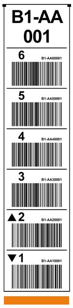 ONE2ID magazijnlabel verticaal wit barcodes tekst