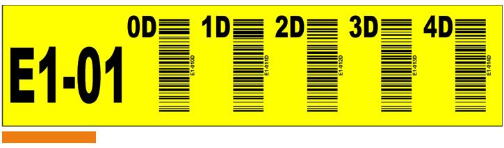 ONE2ID geel label verticale barcodes magazijn