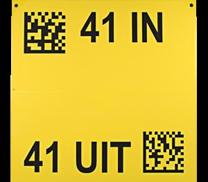 ONE2ID bord magazijn gangpad geel
