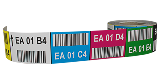 ONE2ID magazijnlabels met kleuren locatie etiketten stellingen
