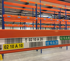 ONE2ID magazijnlabels locatielabels met hoogtekleuren palletstelling