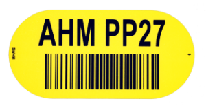 ONE2ID label identificatie magazijnvloer geel