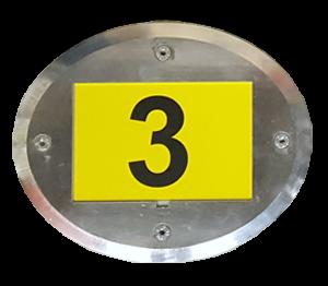 ONE2ID warehouse floor identification oval metalframe