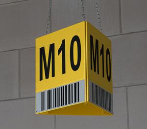 ONE2ID magazijn bord met barcode driehoek opslag bulklocatie