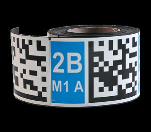 ONE2ID magnetische labels isotropisch voor magazijn datamatrix code