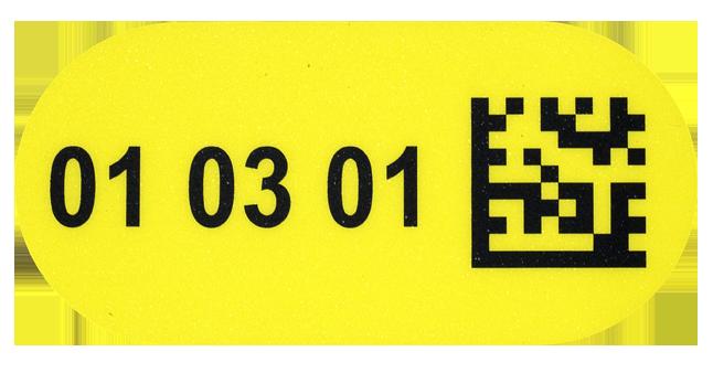ONE2ID vloerlabel geel ovaal magazijn