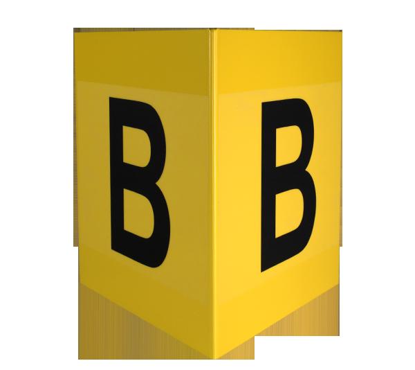 ONE2ID geel magazijnbord gangpad stelling