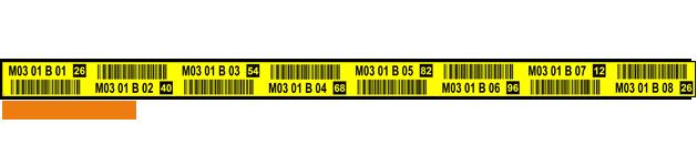 ONE2ID geel magazijnstelling label met barcode en controlegetal