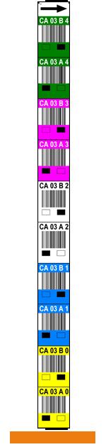 ONE2ID verticaal palletstelling etiket met kleur magazijn