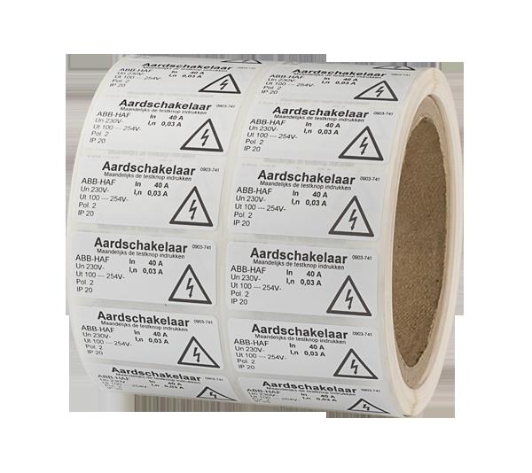 ONE2ID polyester etiketten wit elektrisch elektra industrie