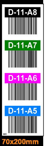 ONE2Id magazijnlabels doorgangen kleurcodering