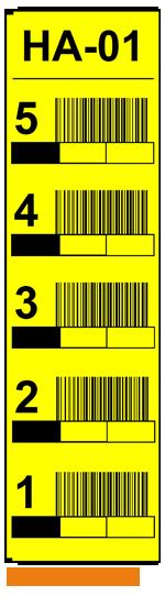 ONE2ID magazijnlabels stellingen geel met barcode