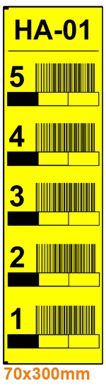 ONE2ID magazijnlabels stellingen geel
