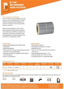 ONE2ID technische fiche zilver polyester