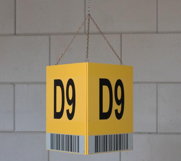 ONE2ID driehoek bulklocatie bord met barcode