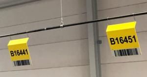 ONE2ID ophangen magazijnborden aan het plafond