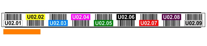 ONE2ID magazijnlabel stelling met barcode en kleur