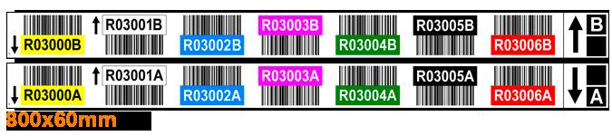 ONE2ID magazijnlabels dubbele pallets met barcode en kleur