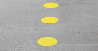 ONE2ID belijning magazijn dots vloerlabels
