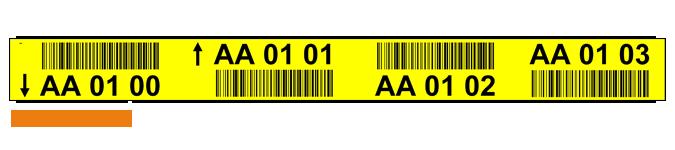 ONE2Id gele magazijn labels stellingen met barcode