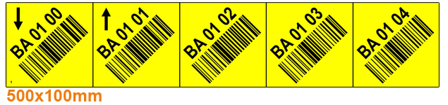 ONE2ID magazijnlabels stellinglabels schuine barcodes