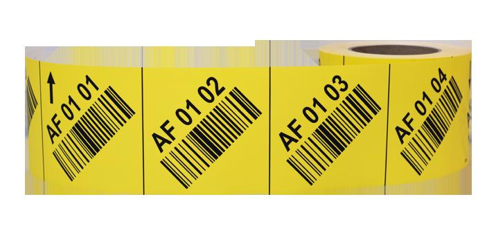 ONE2ID stellinglabels magazijnlabels met schuine barcodes