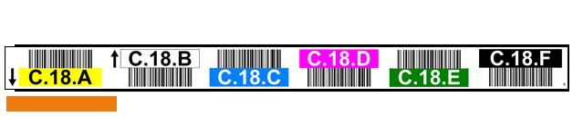 ONE2ID magazijnlabels met barcodes en kleuren en pijlen