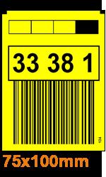 ONE2ID gele magazijnlabels staander met barcode