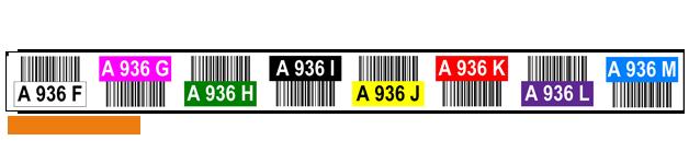 ONE2ID magazijnlabels met kleurcodering en barcode hoogtekleuren