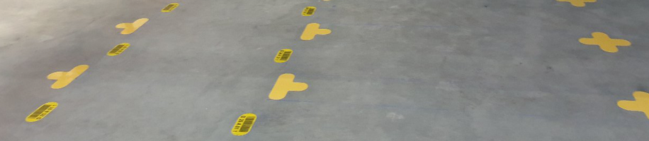 ONE2ID warehouse floor identification floor frames and labels