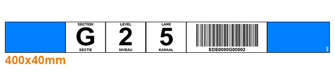 ONE2ID Flowrack labels colour-coded warehouse labels