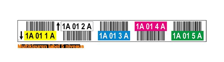 ONE2ID Multikleuren magazijnlabels met hoogtekleuren 5 hoogtes