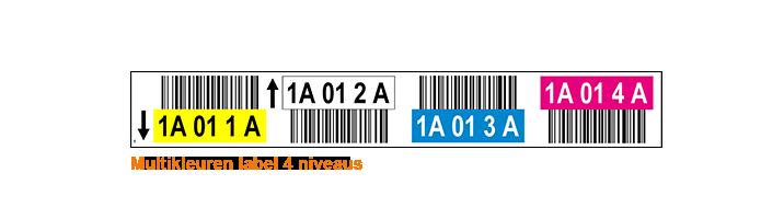 ONE2ID Stellinglabels 4 hoogtes met barcode en kleuren