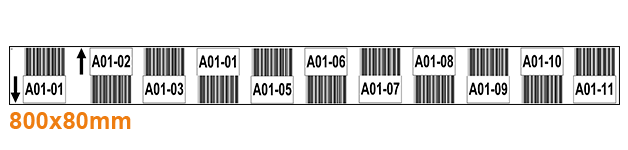 ONE2ID witte magazijnlabels met barcode en pijlen