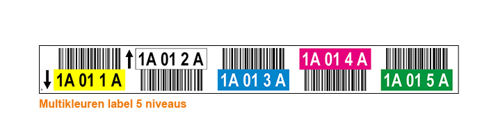 ONE2ID Colour-coded warehous labels 5 levels